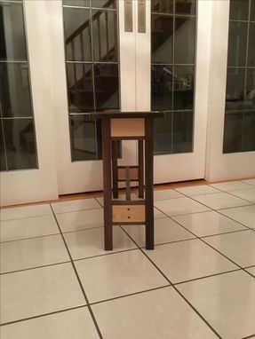 Custom Made Fascinating Maple Grain Center With Walnut Surround End Table