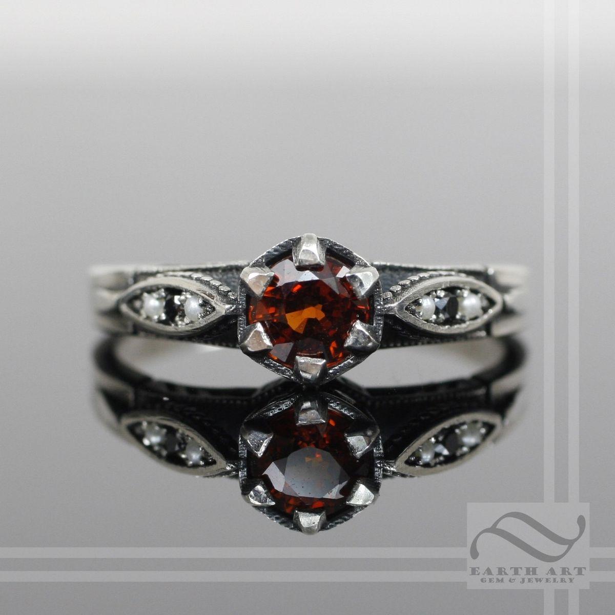 Vintage Style Garnet And Diamond Ring