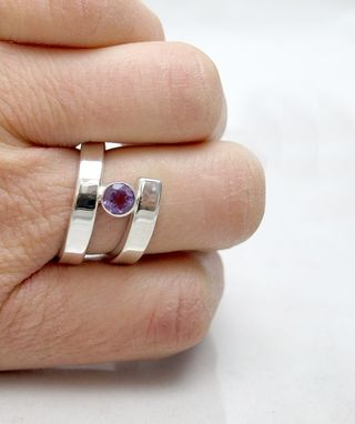 Custom Made Bypass Ring - Amethyst Ring - Bezel Set Ring - Gemstone Ring - Purple Ring - Silver Gemstone Ring