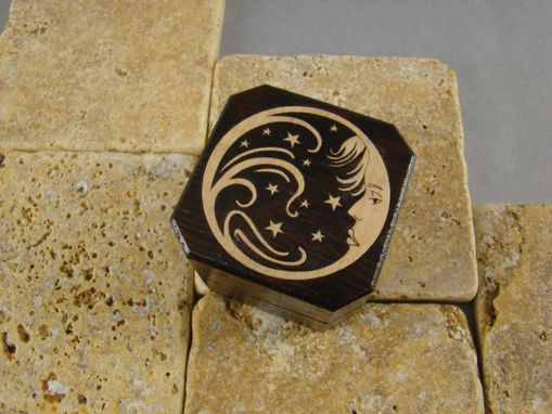 Custom Made Inlaid Engagement Ring Box Of Wenge And Maple. Free Engraving And Shipping. Rb-26