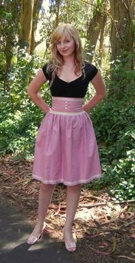 Custom Made Pinup Skirt, Vintage, Retro High Waisted Linen Pink Skirt Made In Your Size Any Color Or Length