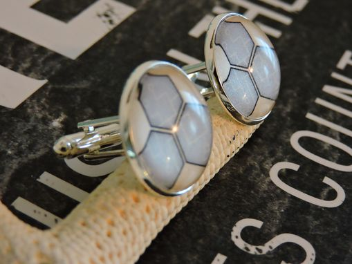 Custom Made Custom 20mm Sterling Silver Plated Glass Bezel Cufflinks
