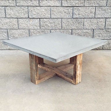 Custom Made Rustic Modern Reclaimed Wood And Cement Coffee Table