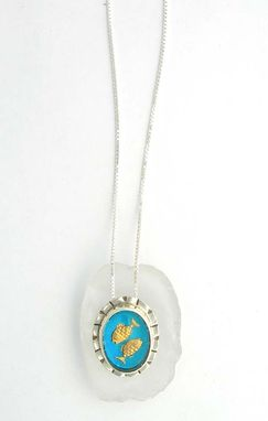 Custom Made Pisces Zodiac Symbol Pendant Necklace- Sterling Silver Vintage Glass