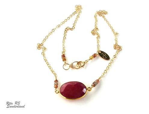 Custom Made 14k Gold Filled Ruby And Sapphires Necklace