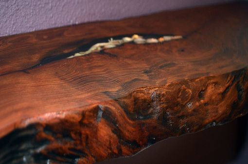 Custom Made Live Edge Redwood Floating Shelf With Epoxy Shell Inset