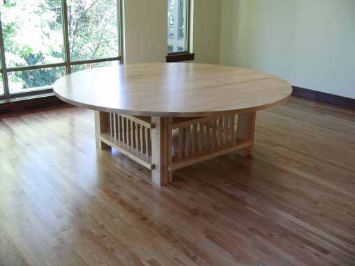 "Custom Made 96"" Round Maple Conference Table"