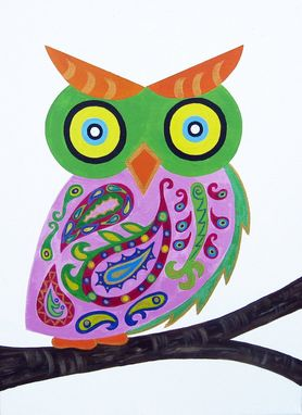 Custom Made Pink Paisley Owl Baby Wall Art / Child Wall Art Owl Nursery Painting (Not A Print) - Whimsical Owl