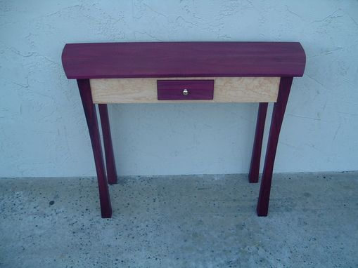 Custom Made Purpleheart And Quilty Bird's Eye Maple Entry Hall Table.