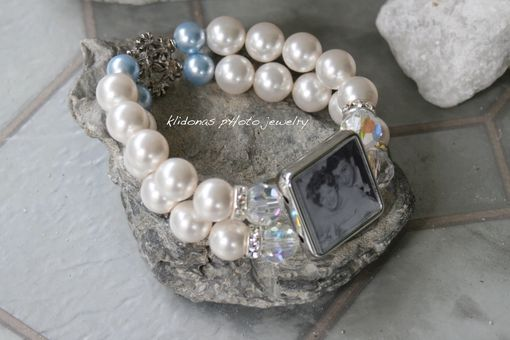 Custom Made Bride's Photo Charm Bracelet With Light Blue Swarovski Pearls, Crystals, And Rhinestones