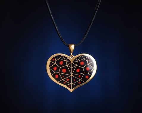 "Custom Made ""Poisoned Heart"" Pendant - Cloisonné Enamel Pendant"