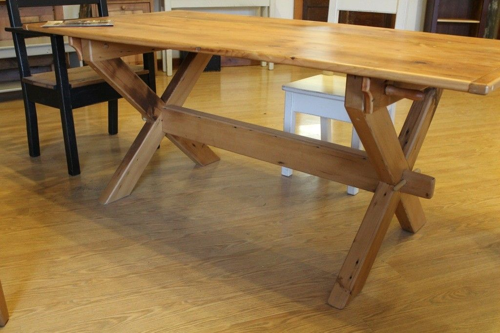 custom made x style trestle base dining room table by ecustomfinishes reclaimed wood furniture. Black Bedroom Furniture Sets. Home Design Ideas