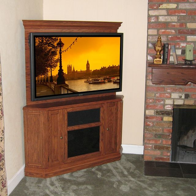 Hand Crafted Custom Corner Oak Tv Stand Entertainment Center By Diamond Case Designs Inc Custommade