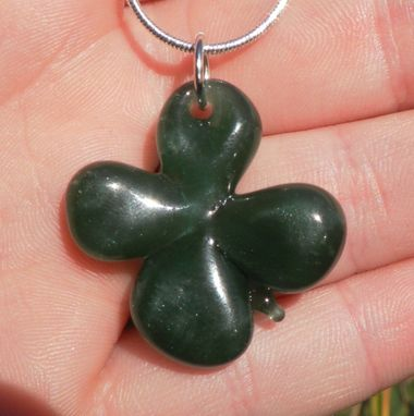 Custom Made Sterling Silver Necklace With Glass Clover Pendant