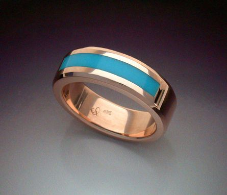 Custom Made 4k Rose Gold Man's Ring With Turquoise Inlay