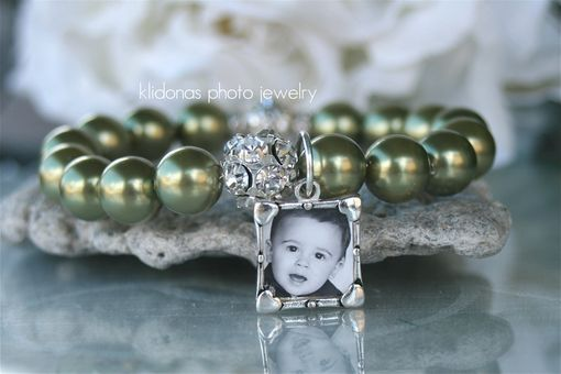 Custom Made Brides Bracelet, Photo Bracelet, Charm Bracelet, Mother Of The Bride & Groom, Light Green Pearls