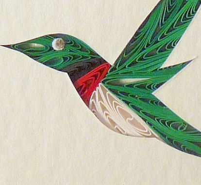 Custom Made Birds - Quilled Hummingbird Miniature Wall Art Framed