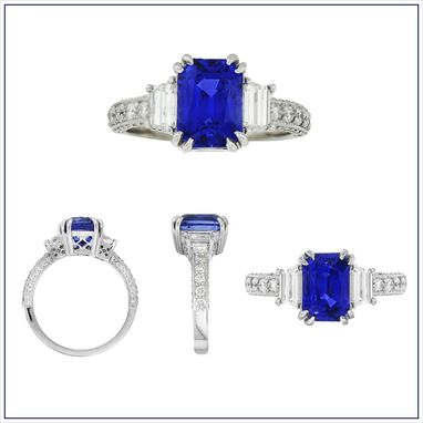 Custom Made 3.68 Ct Sapphire Engagement Ring