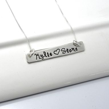 Custom Made Personalized Long Bar Choker Necklace