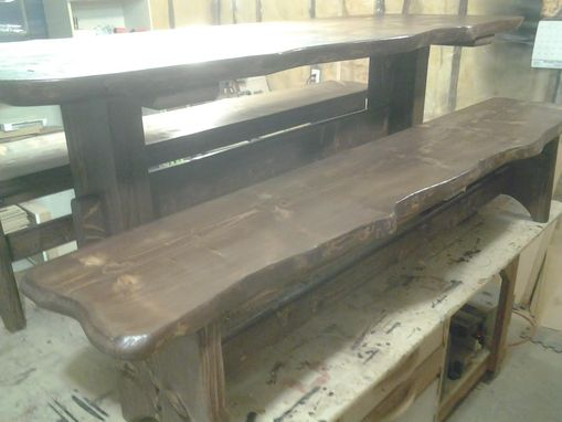 Custom Made Live Edge Farm Style Table And Benches