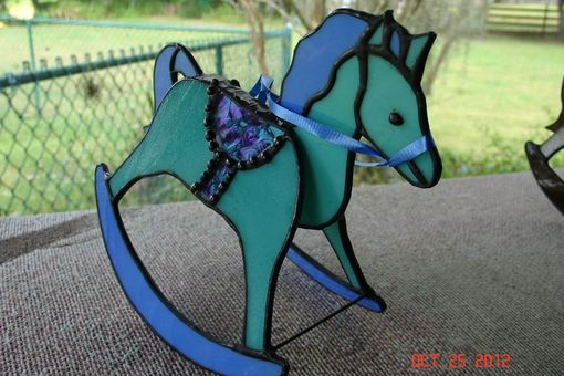 Custom Made Funky Green & Purple Stained Glass Rocking Horse