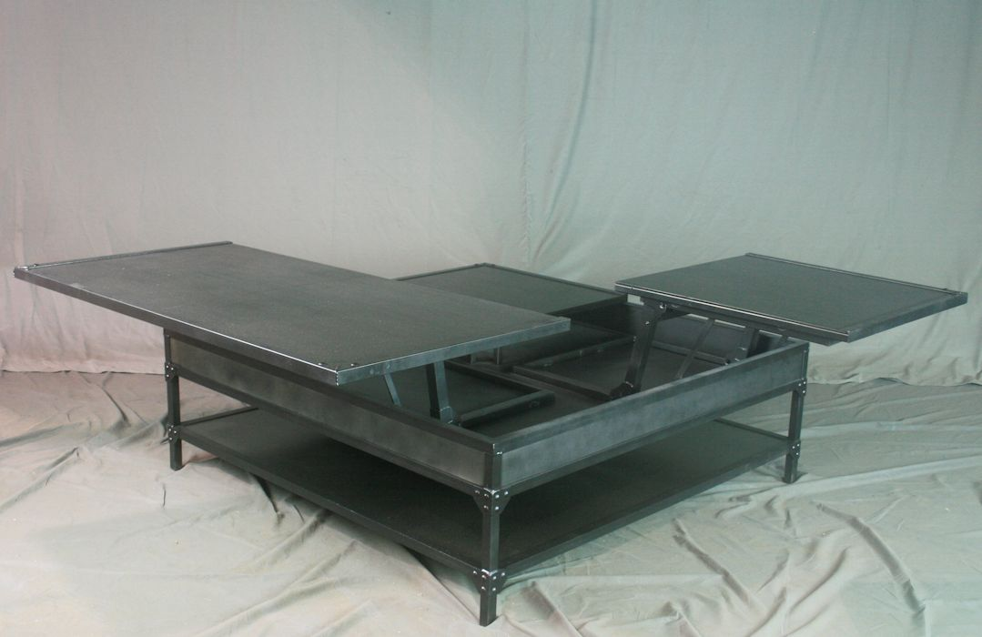 Custom made industrial lift top coffee table vintage steel double lift top coffee table