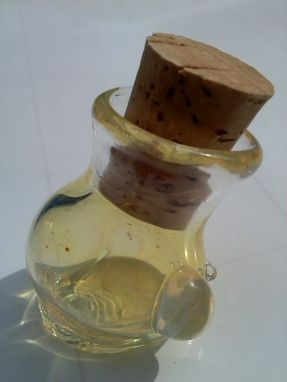 "Custom Made 1.5"" Micro Cache Glass Vial With Cork - Stash Jar - Herb Jar - Oil, Ashes, Perfume - Silver Fumed"