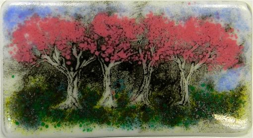 Custom Made Fused Glass Painting In Light Of A Spring Tree Scene