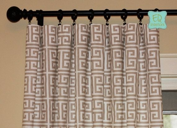 Custom Made Designer Curtain Panels Sherbet Soft Gray Towers Greek Key 108l X