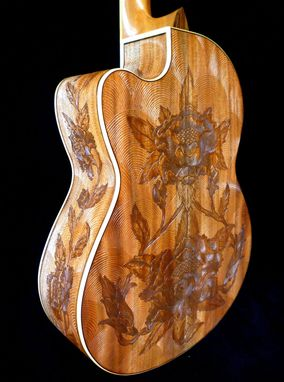 "Custom Made Blueberry ""Floral"" Motif Classical Guitar"