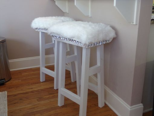 Custom Made Faux Fur Bar Stools