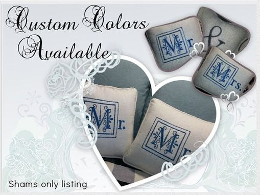 Custom Made Set Of 2, Mr. And Mrs. Pillows In New Special Embroidery Block Font