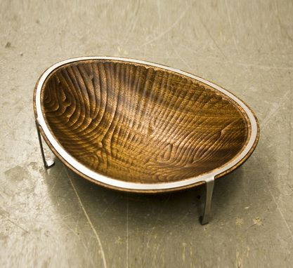 Custom Made Decorative Bowl, Sapele Wood And Stainless Steel