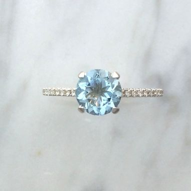 Custom Made French Basket Aquamarine & Diamond Engagement Ring - 14k White Gold