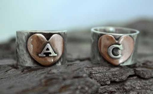 Custom Made Follow Your Heart Initial Ring
