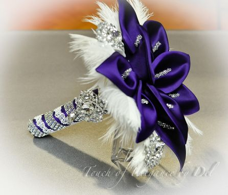 "Custom Made 12"" 'Gatsby Glamour' Bridal Brooch Bouquet - Calla Lilies, Ostrich Feathers And Bling"