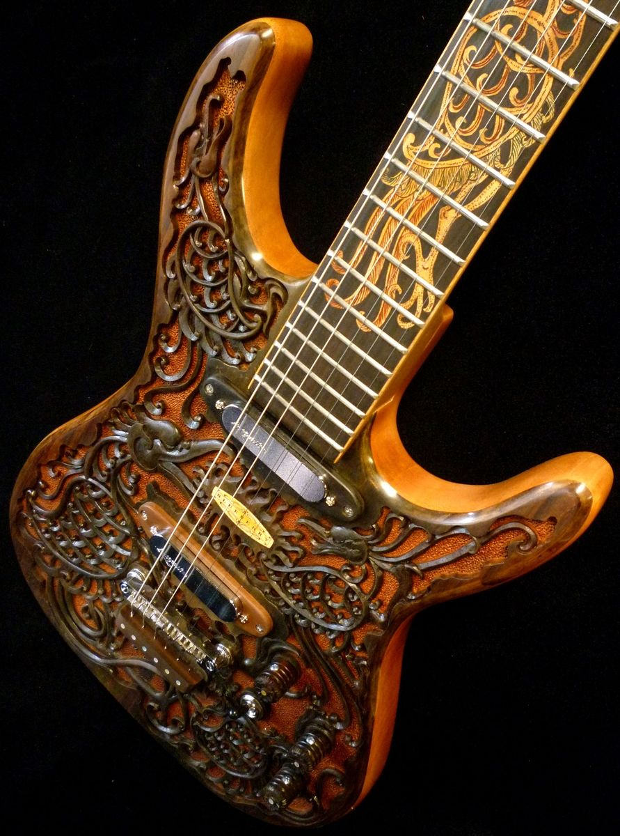 hand crafted blueberry hawk carved electric guitar by blueberry musical instruments inc. Black Bedroom Furniture Sets. Home Design Ideas