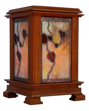 Custom Made Stained Glass Table Lantern - Arts & Crafts Series - Quartersawn Beech - Hammered Copper