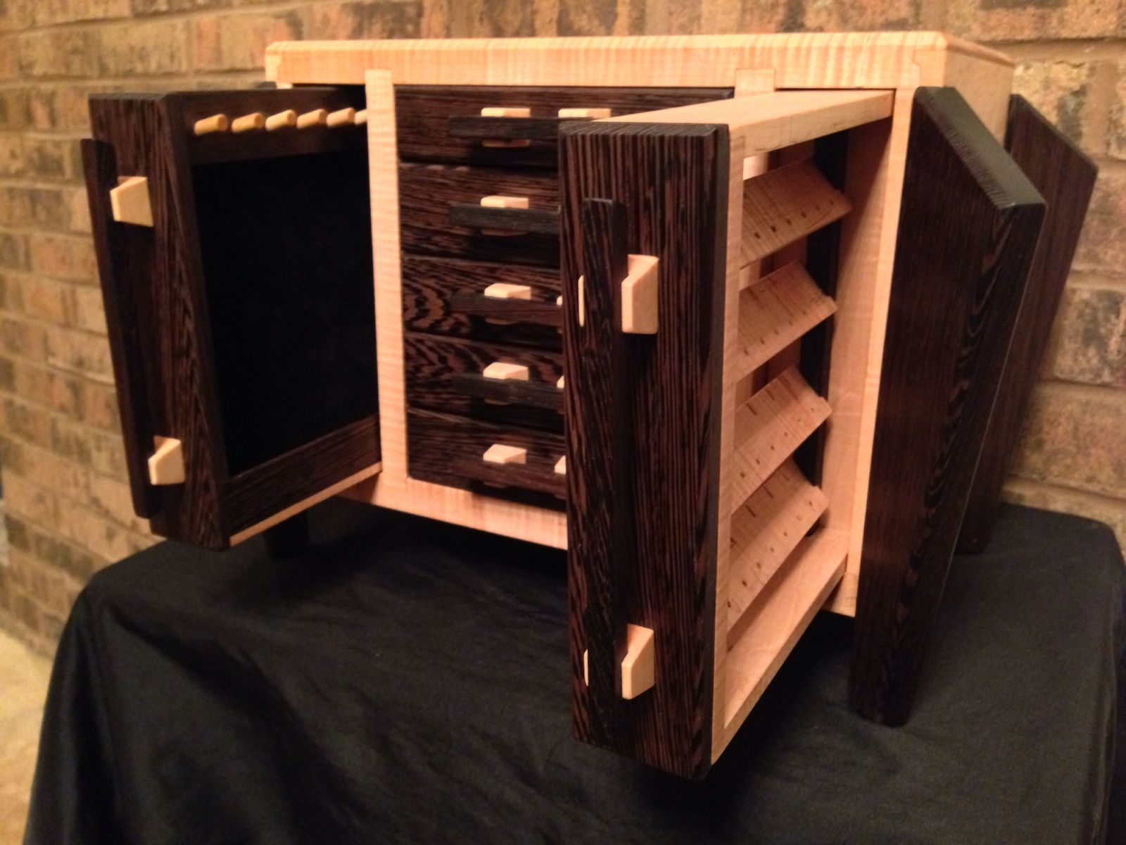 Hand Made Wenge And Curly Maple Jewelry Box By Cjs