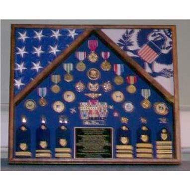 Custom Made Military Flag Case For 2 Flags And Medals
