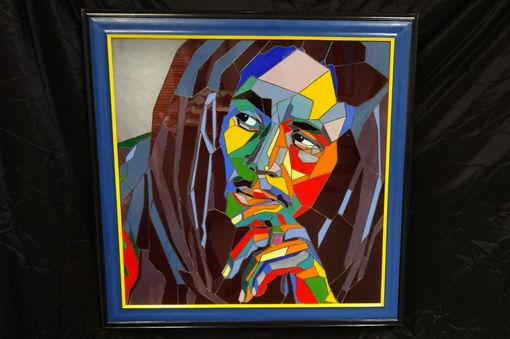 Custom Made Stained Glass Picture Of Bob Marley