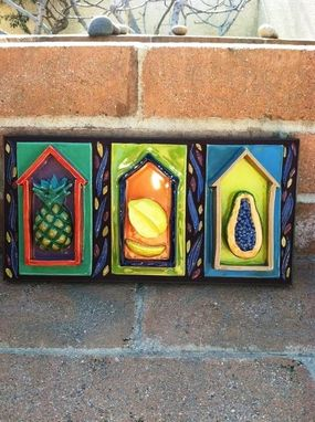 Custom Made Little Houses Of Fruit, Pineapple, Lemon, Papaya Sculpted Wall Hanging