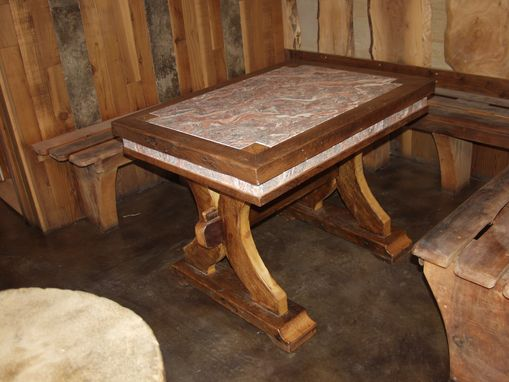 Custom Made Wood Table, Concrete Scagliola Top , Reclamined Wood Table