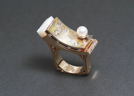 Custom Made Mokume-Gane Ring / Diamonds / Pearl / Mother Of Pearl