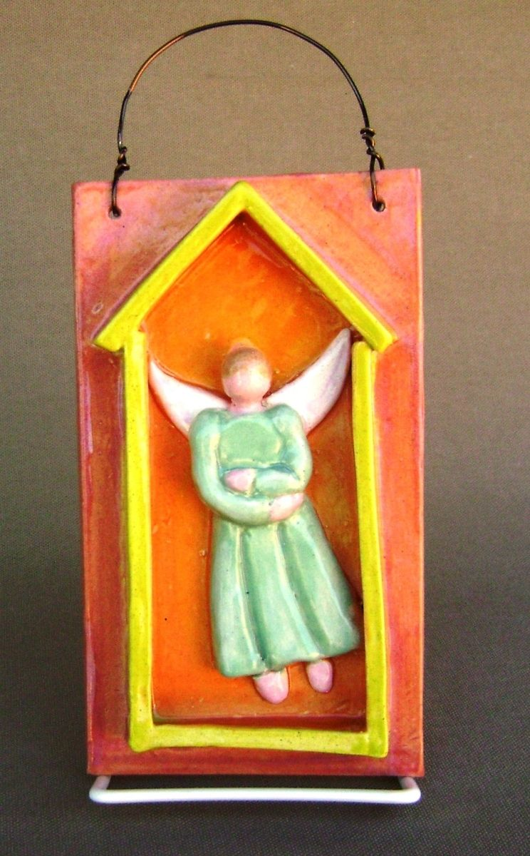Handmade Angel In House Ceramic Wall Plaque By Robin Chlad