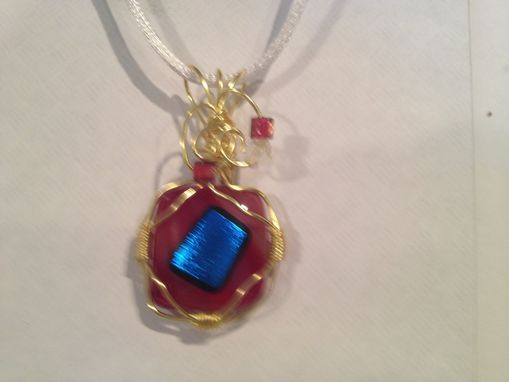 Custom Made Wire Wrapped Fused Glass Pendant