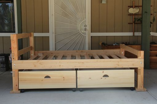 Custom Made Early American Rustic Storage Bed