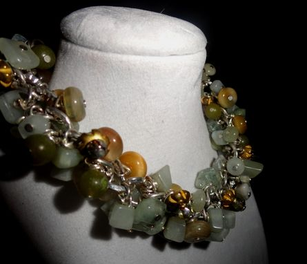 Custom Made Jade, Honey Blue Tigers Eye, Czech Seed Bead Bracelet