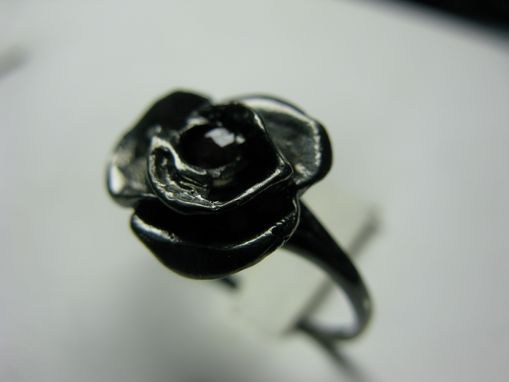 Custom Made Ruby In A Blackened Sterling Silver  Rose Ring