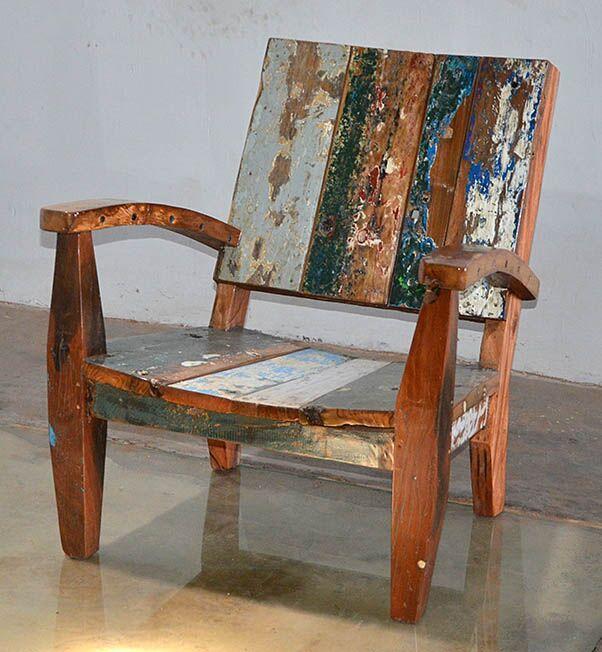 Custom Made Reclaimed Teak Adirondack Style Chair From Bali Boat Wood